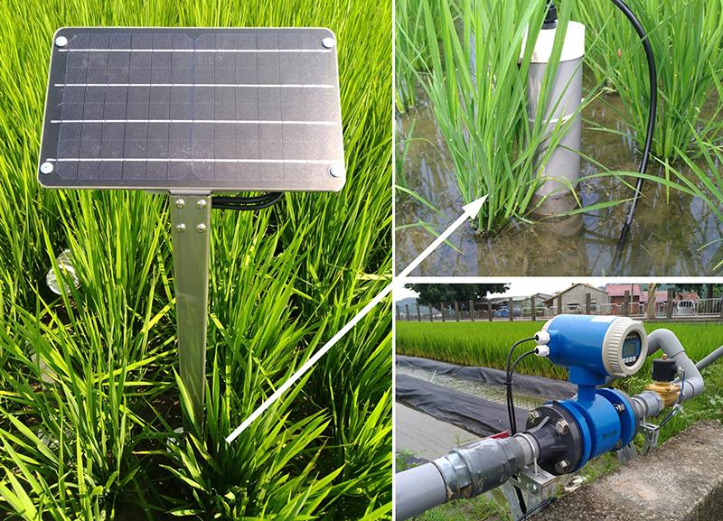 圖3、導入太陽能水位計、電子流量計等田間感測設備。