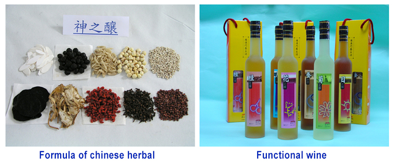 Formula of chinese herbal (left); Functional wine (right)